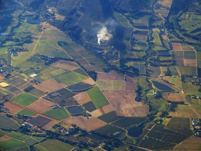 aerial view of farmland and roads