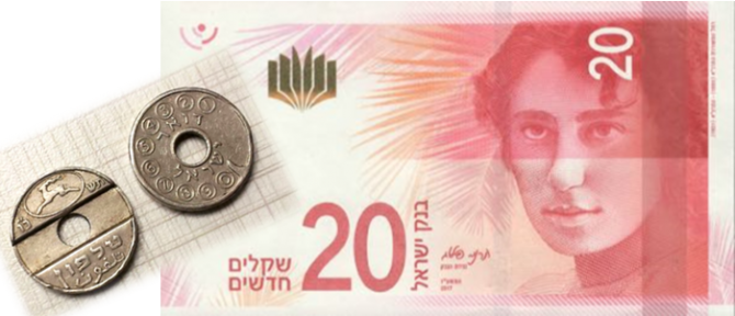 20 shekel note and asimon phone tokens