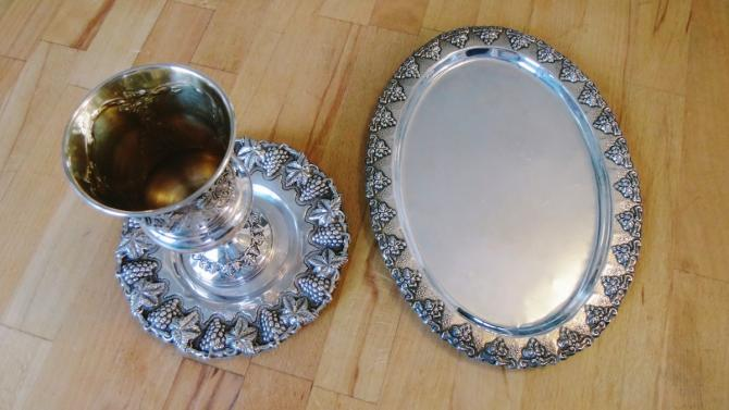 kiddush cup and plate