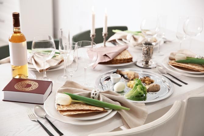 Seder table, fully set