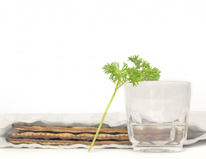 Parsley sprig leaning against glass of salt water, with matzah in the background