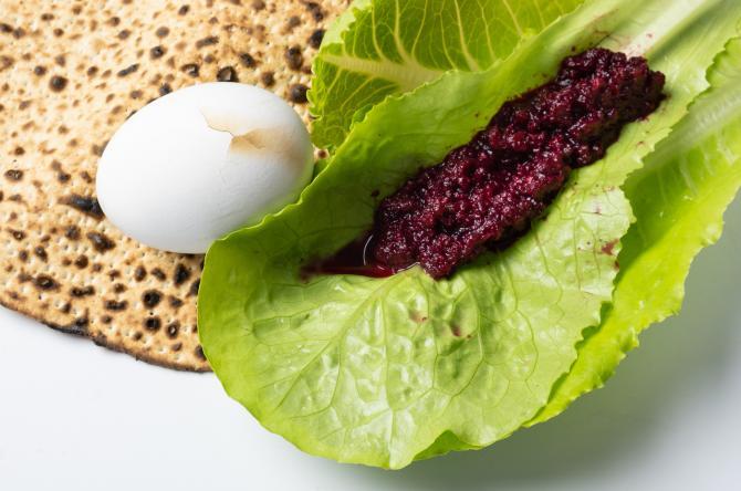 Matzah, horseradish, romaine lettuce and a hardboiled egg