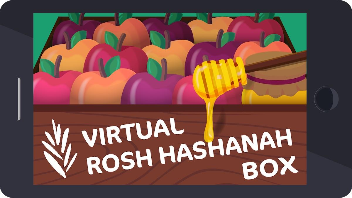 """Box filled with apples and honey labelled """"virtual rosh hashanah box"""""""
