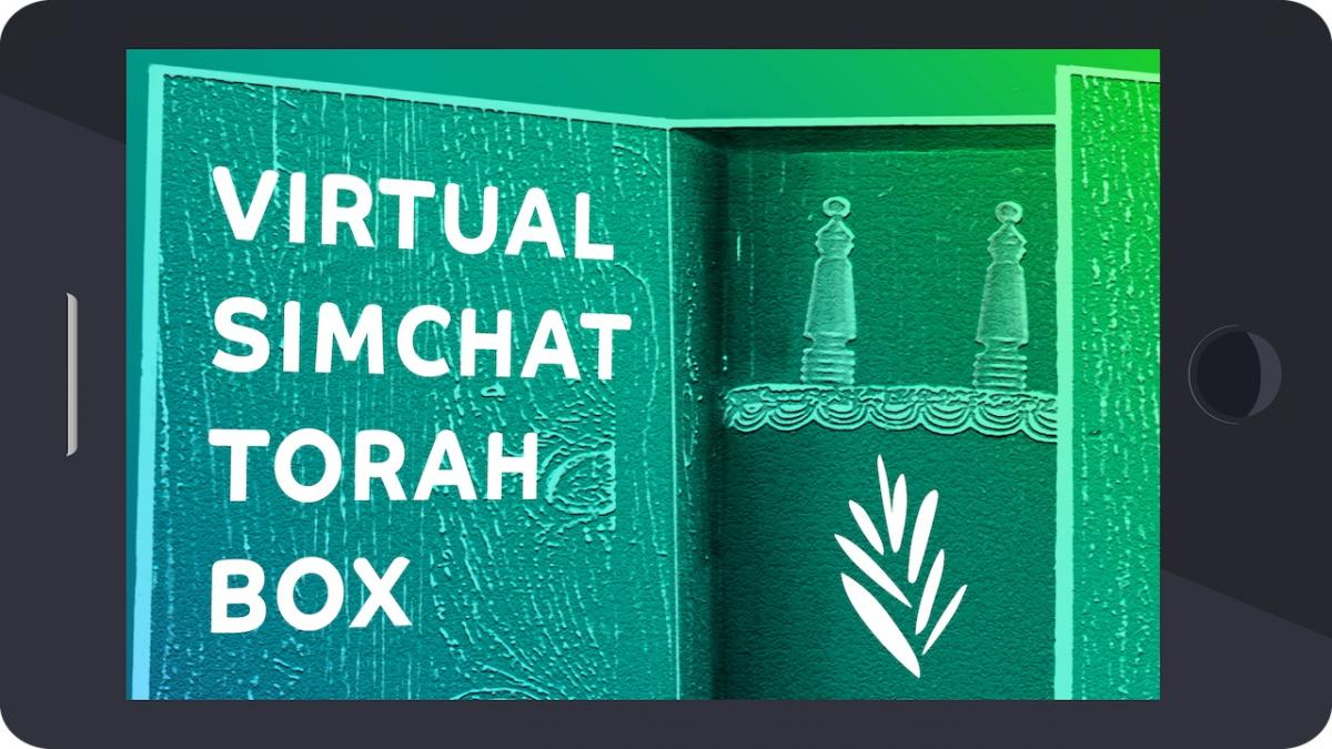 "torah in ark with label ""virtual simchat torah box"" inscribed on door"