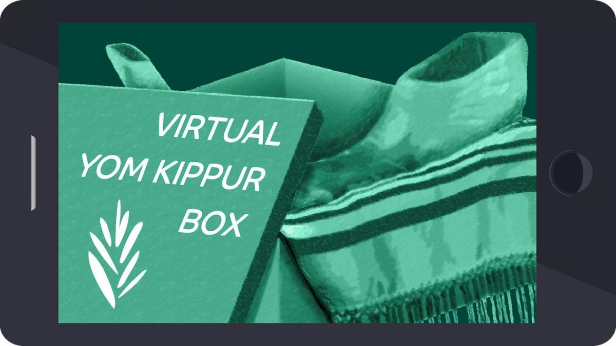 "Prayer book titled ""virtual yom kippur box"" with tallit and shofar"